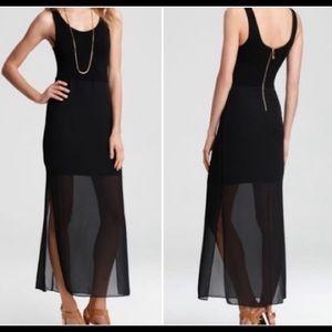 Vince Camino Black Chiffon Sleeveless Maxi Dress